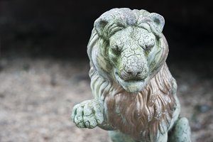 Distressed Lion Sculpture