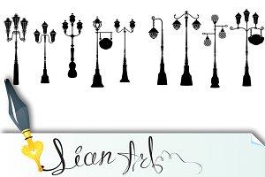 Retro street lanterns silhouettes