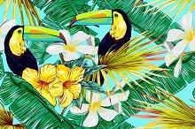Toucans,jungle leaves vector pattern