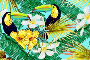 Toucans,jungle leaves vector pattern