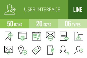 50 Interface Line Green&Black Icons