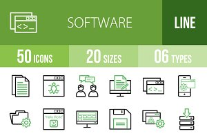50 Software Line Green & Black Icons