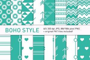 Boho-style turqouise pattern set