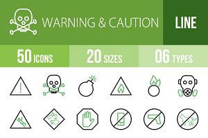 50 Warning Line Green & Black Icons
