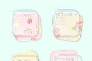 vector banners set. shabby chic.