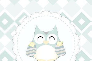 shabby chic owl illustration