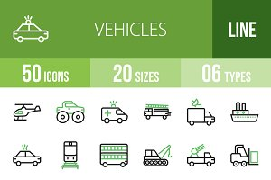 50 Vehicles Line Green & Black Icons