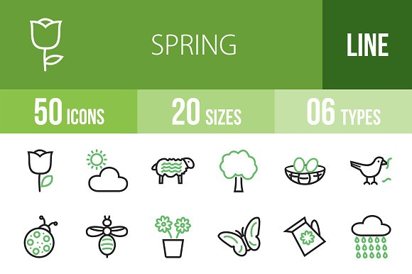 50 Spring Line Green & Black Icons in Graphics