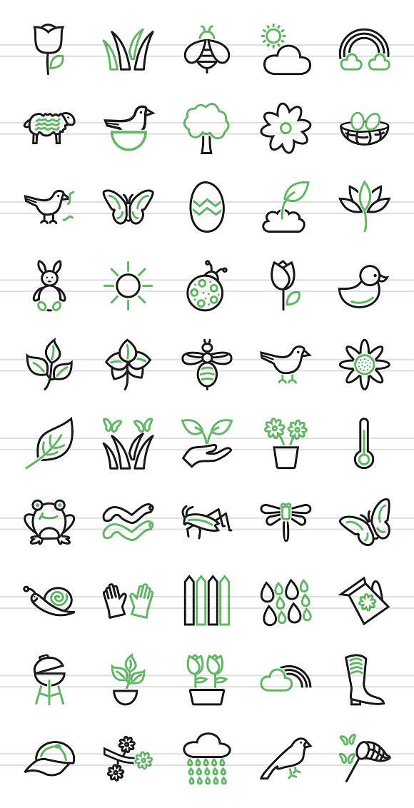 50 Spring Line Green & Black Icons in Graphics - product preview 1