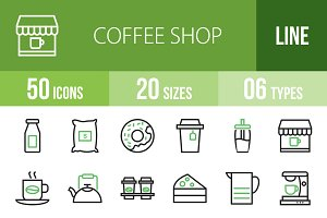 50 Coffee Line Green & Black Icons