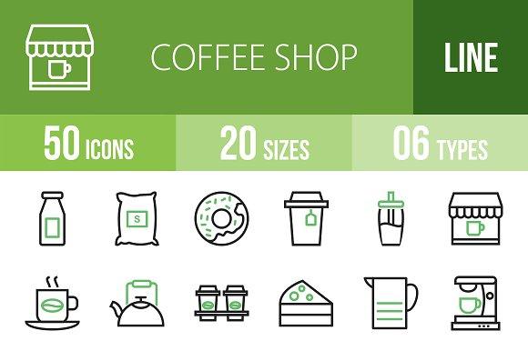 50 Coffee Line Green & Black Icons