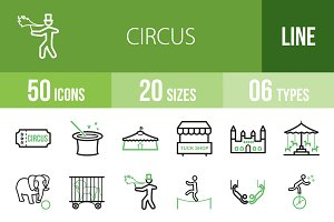 50 Circus Line Green & Black Icons