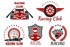 Racing club and motorsport icons