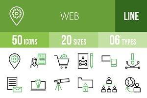 50 Web Line Green & Black Icons