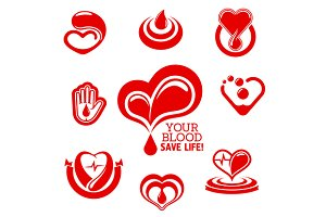 Blood donation medical icons
