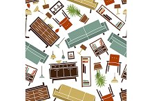 Retro pattern of house furniture