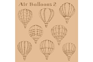 Vintage engraving sketch air balloon