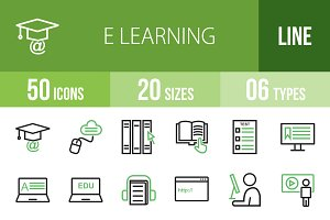50 E Learning Line Green&Black Icons