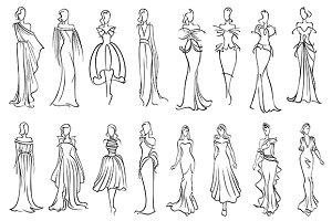 Fashion models sketched silhouettes