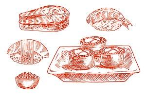 Sketched japanese sushi rolls