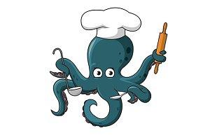 Cute cartoon blue octopus chef