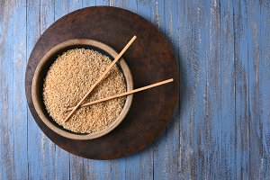 Brown Rice and Chop Sticks