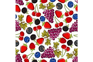 Juicy berries seamless pattern