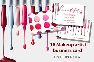Set of Makeup artist business card