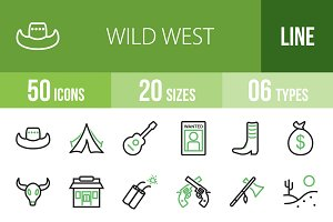50 Wild West Line Green&Black Icons