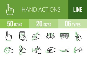 50 Hand Line Green & Black Icons