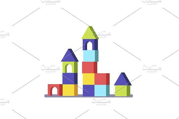 Wooden block building game castle