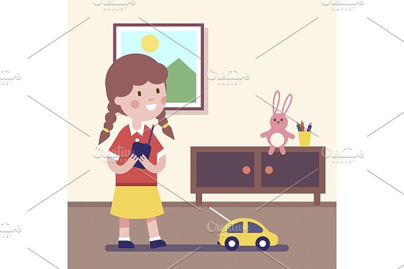 Girl playing with rc car