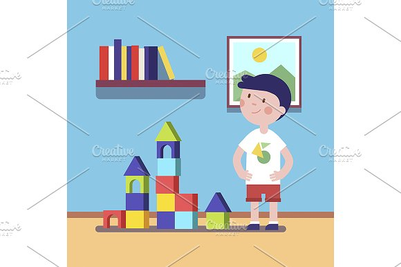 Boy build a castle with blocks