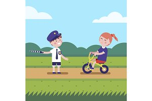 Kids playing police traffic officer