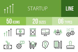 50 Startup Line Green & Black Icons