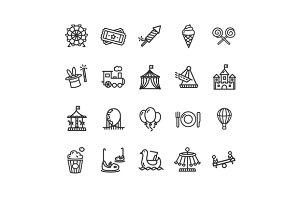 Amusement Park Outline Icon Set