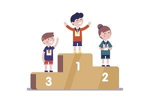 Medalists kids standing on podium