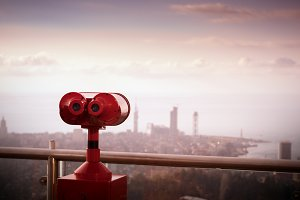 binoculars to view cityscapes