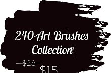 240 Art brushes Big Pack vector
