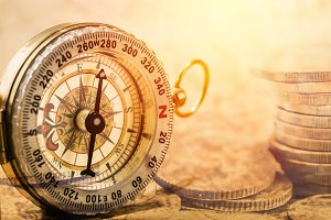 Double exposure compass and coin