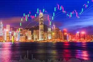 Trading stock graph on city