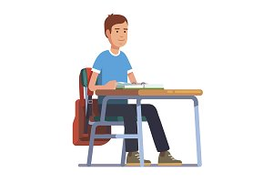 Student sitting at his school desk