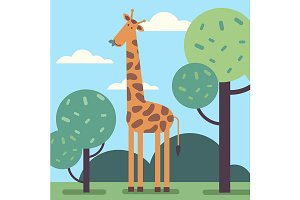 Cute giraffe standing tall