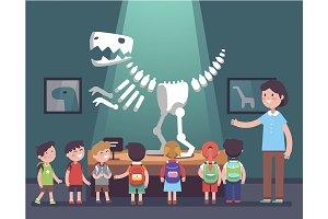 kids watching tyrannosaurus