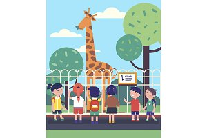 Group of kids watching giraffe