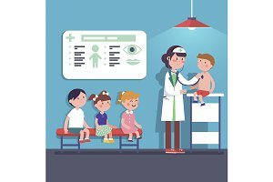 Pediatrician doctor examining kids