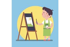 kid artist painting a piece of art