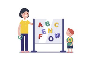 Kid learning abc in kindergarten