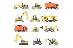 Heavy machinery for road repair.