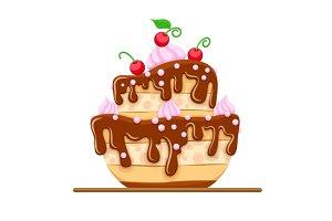 Sponge cake dessert with sweet chocolate glaze